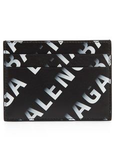 Balenciaga Gradient Logo Leather Card Case