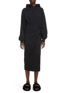 Balenciaga Hooded Brushed Molleton Midi Dress
