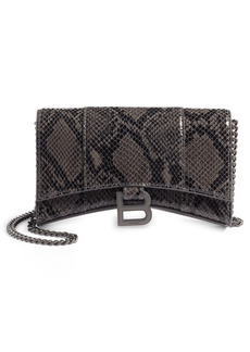 Balenciaga Hourglass Snake Embossed Leather Wallet on a Chain