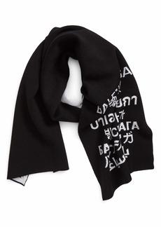 Balenciaga Languages Wool Jacquard Knit Scarf