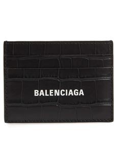 Balenciaga Logo Croc Embossed Leather Card Case