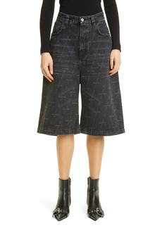 Balenciaga Logo High Waist Bermuda Denim Shorts
