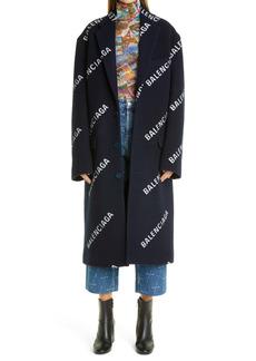 Balenciaga Logo Jacquard Wool & Cashmere Blend Women's Coat