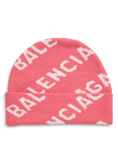Balenciaga Logo Jacquard Wool Beanie
