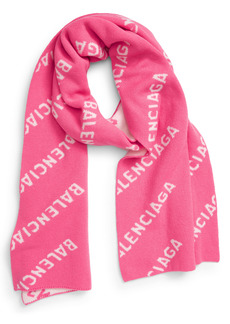 Balenciaga Logo Jacquard Wool Blend Scarf
