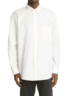 Balenciaga Logo Print Button-Down Shirt