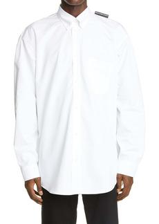 Balenciaga Logo Tab Button-Down Shirt