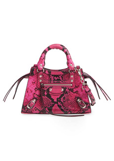 Balenciaga Mini Neo Classic City Python Embossed Leather Top Handle Bag