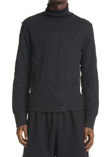 Balenciaga Mock Neck Wrinkled Fleece Top