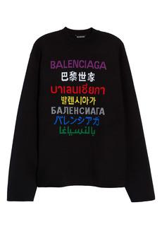 Balenciaga Multicolor Multilingual Logo Intarsia Sweater