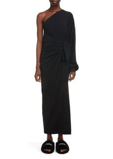 Balenciaga One Shoulder Matte Milano Jersey Dress