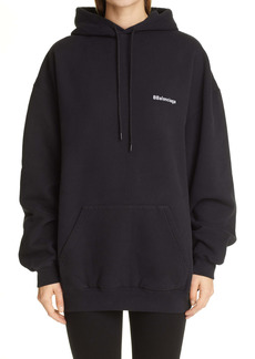 Balenciaga Oversize Double B Logo Cotton Hoodie