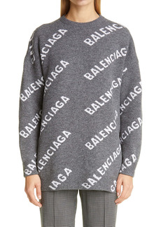Balenciaga Oversize Logo Jacquard Wool Blend Sweater
