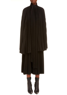 Balenciaga Pleated Tie Neck Blouse