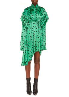 Balenciaga Polka Dot Print Long Sleeve Logo Jacquard Babydoll Dress