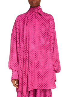 Balenciaga Polka Dot Print Newspaper Jacquard Tie Neck Tuxedo Blouse