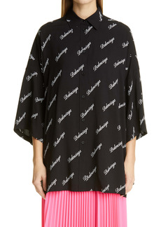 Balenciaga Script Logo Oversize Women's Button-Up Shirt