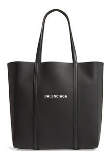 Balenciaga Small Everyday Logo Calfskin Tote - Black
