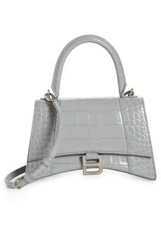 Balenciaga Small Hourglass Croc Embossed Leather Top Handle Bag
