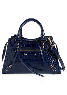 Balenciaga Small Neo Classic City Croc Embossed Leather Top Handle Bag