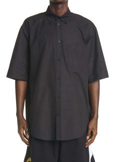 Balenciaga Sponsor Logo Poplin Short Sleeve Button-Down Shirt