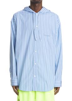 Balenciaga Stripe Poplin Hooded Button-Up Cocoon Shirt