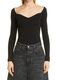 Balenciaga Sweetheart Neck Knit Top