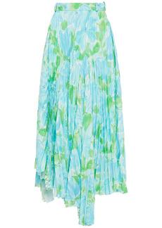 Balenciaga Woman Asymmetric Floral-print Plissé-crepe Skirt Light Blue