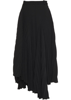 Balenciaga Woman Asymmetric Pleated Crepe Midi Skirt Black