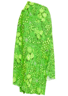 Balenciaga Woman Asymmetric Pleated Floral-print Crepe Skirt Bright Green