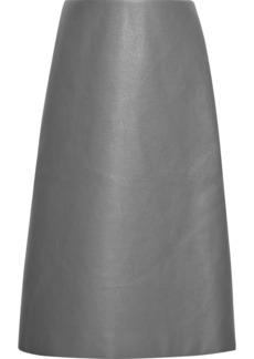 Balenciaga Woman Faux Leather Midi Skirt Gray