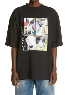 Balenciaga Women's I Love Dogs Oversize Graphic Tee
