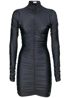 Balenciaga Draped Spandex Turtleneck Mini Dress