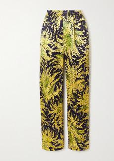 Balenciaga Floral-print Silk-jacquard Wide-leg Pants