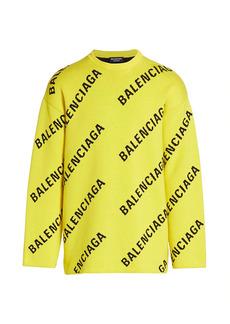 Balenciaga Logo Intarsia Crewneck Sweater