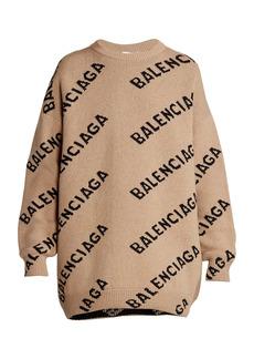Balenciaga Logo Intarsia Wool-Blend Knit Crewneck Sweater