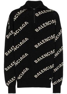 Balenciaga logo knit zipped jumper