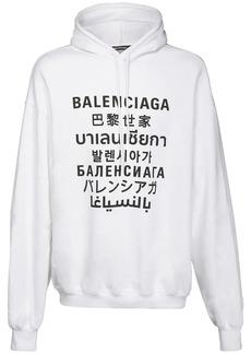 Balenciaga Multi Language Logo Print Cotton Hoodie