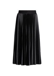 Balenciaga Pleated Silk Midi Skirt