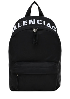 Balenciaga Sm Wheel Logo Print Nylon Backpack