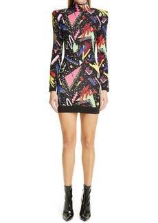 Balmain '80s Jacquard Long Sleeve Mini Sweater Dress