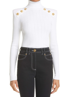Balmain Button Detail Turtleneck Sweater