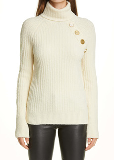 Balmain Button Embellished Rib Wool Blend Turtleneck Sweater