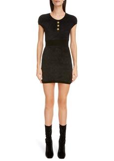 Balmain Diamond Jacquard Eyelash Yarn Mini Sweater Dress
