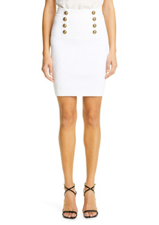 Balmain Diamond Stitch High Waist Sweater Miniskirt
