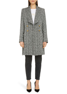 Balmain Double Breasted Chevron Tweed Coat