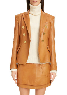 Balmain Double Breasted Lambskin Leather Jacket