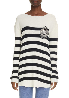 Balmain Emblem Stripe Sweater
