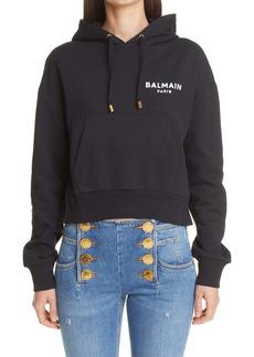 Balmain Flocked Logo Crop Hoodie