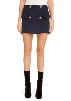 Balmain Four-Button Wool Grain de Poudre Faux Wrap Miniskirt